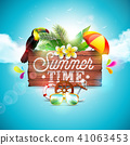 Vector Summer Time Holiday typographic illustration with toucan bird on vintage wood background 41063453