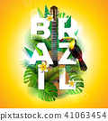 Vector Brazil typography illustration with toucan bird, acoustic guitar and flower on tropical 41063454