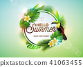 Hello Summer illustration with toucan bird on tropical background. Exotic leaves and flower with 41063455