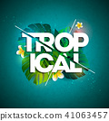 Vector Tropical Holiday typographic illustration with exotic leaf and flower on blue background 41063457