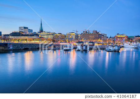 Stockholm cityscape skyline at night in Sweden 41064187
