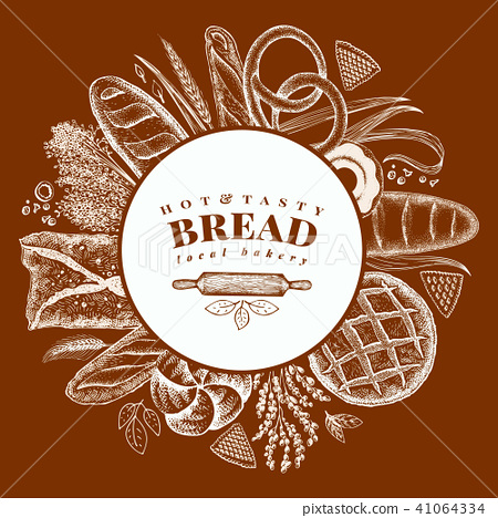 Vector bakery hand drawn illustration. Background with bread and pastry. Retro design template. Can 41064334