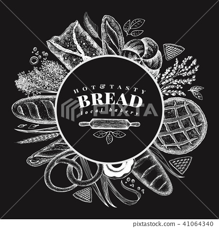 Vector bakery hand drawn illustration on chalk board. Background with bread and pastry. Retro design 41064340