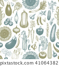 Vegetables hand drawn vector seamless pattern. Retro engraved style background. Can be use for menu 41064382