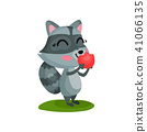 raccoon, animal, apple 41066135