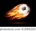 Flying football or soccer ball on fire. 41066203