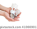 Recycling, electricity, environment and ecology concept - close up of hand holding energy saving 41066901