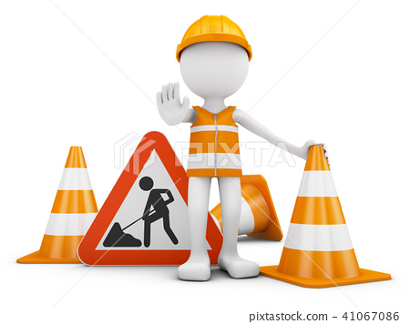 Road worker and  sign 41067086