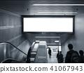 Blank Banner in subway Escalator people walking 41067943
