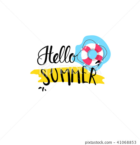 hello summer badge Isolated Typographic Design Label. Season Holidays lettering for logo,Templates 41068853