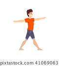 Man in hero pose, young man practicing yoga vector Illustration on a white background 41069063