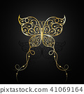 Gold butterfly with swirl pattern. 41069164