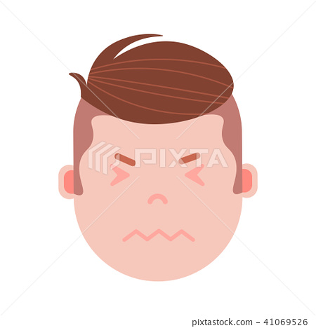 boy head emoji personage icon with facial emotions, avatar character