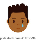 african boy head emoji personage icon with facial emotions, avatar character, man crying face with 41069596