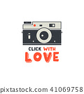 Retro Camera T-Shirt. Vintage hand drawn photography tee with Click with Love words. Distressed 41069758