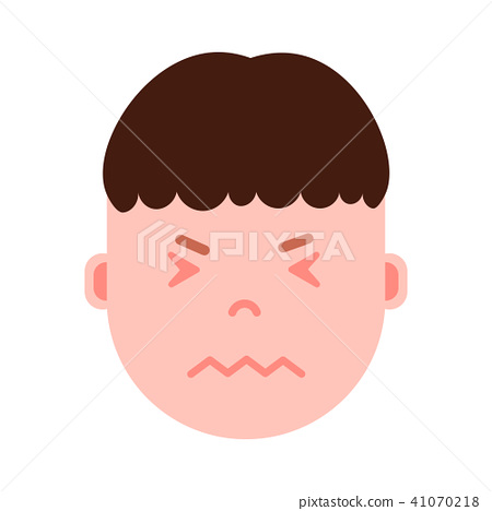boy head emoji personage icon with facial emotions, avatar