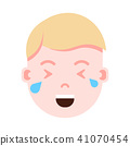 boy head emoji personage icon with facial emotions, avatar character, man crying face with different 41070454