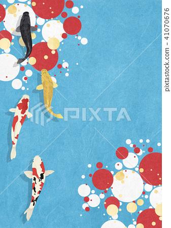 日本紙紋理各種各樣的大圈子游泳Nishikigoi 41070676
