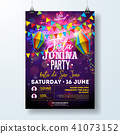 Festa Junina Party Flyer Illustration with Flags and Paper Lantern on Firework Background. Vector 41073152