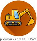excavator circle flat brown icon 41073521