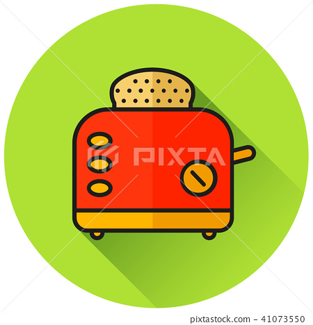 bread toaster circle flat icon 41073550