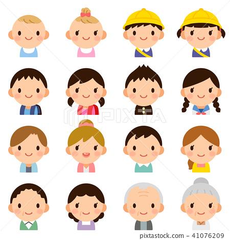 各种代的家庭男性和女性夫妇儿童婴儿脸表达可爱的小图标集 41076209