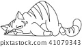 Outlined tired cat 41079343