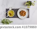 Green (herbal, white) tea with vegan oat cookies 41079860