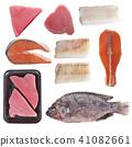 Variety of fish on white background 41082661