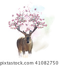 Deer portrait with flowering branches watercolor 41082750