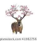 Deer portrait with flowering branches watercolor 41082756