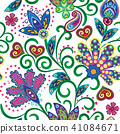 Hand drawn flower seamless pattern. Colorful seamless pattern with pargeting grunge whimsical 41084671
