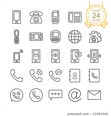Set of phone, telephone or mobile icons, Vector. 41085466