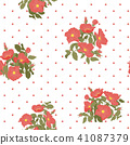 Blooming wild flowers seamless pattern with polka dots on white background in hand drawing style 41087379