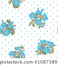 Blooming wild flowers seamless pattern with polka dots on white background in hand drawing style 41087380
