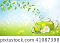 Procurement for the brochure of chamomile tea with a transparent glass teapot and a cup. Vector 41087399