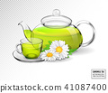 Chamomile tea in a transparent teapot with a cup. Realistic vector 3d illustration. 41087400