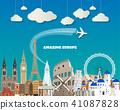 Europe famous Landmark paper art. Global Travel. 41087828