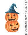 halloween pumpkin stack wearing witch hat. 41087847