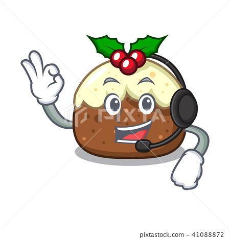 With headphone fruit cake mascot cartoon 41088872