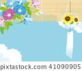 风铃和牵牛花背景例证 41090905