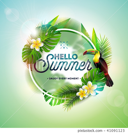 Hello Summer illustration with toucan bird on tropical background. Exotic leaves and flower with 41091123