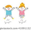 兒童的男性和女性白色皮膚跳躍 41091132