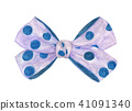 Blue polka dots gift bow isolated on white 41091340