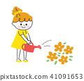 给花浇水的女孩 41091653