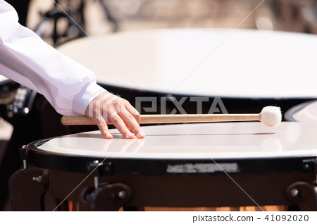 Female student playing with brass band 8 - Stock Photo [41092020