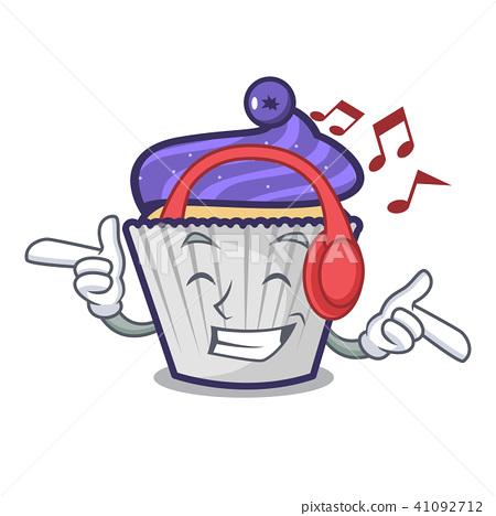 Listening music blueberry cupcake mascot cartoon 41092712