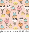 Cute Animal Ice Cream Pattern Background.  41093324