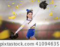 Young asian cheerleader with poms in her hands 41094635
