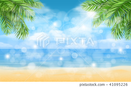 beach with palm trees and highlights background 41095226